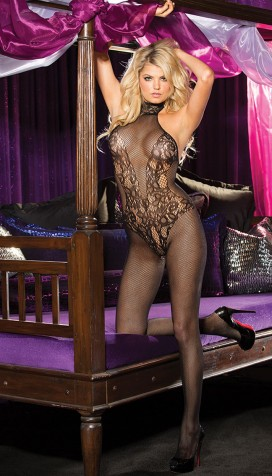 STRETCH LACE AND FISHNET TURTLENECK BODYSTOCKING