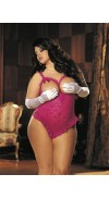 STRETCH LACE AND 15 DENIER OPEN BUST TEDDY