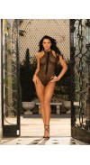 FISHNET TEDDY WITH ZIPPER FRONT