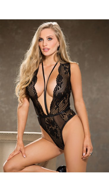 "Stretch Lace TEDDY with deep ""V"""