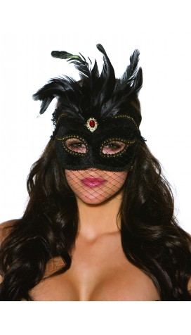 MASK VELVET WITH FEATHERS