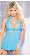 STRETCH MESH AND LACE BABYDOLL WITH BOW
