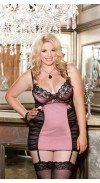 SATIN AND CHOPPER BAR LACE CHEMISE