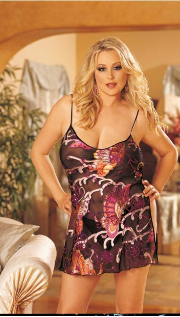 COLORFUL BUTTERFLIES ARE DEPICTED ON OUR PRINTED BURNOUT SILK CHEMISE