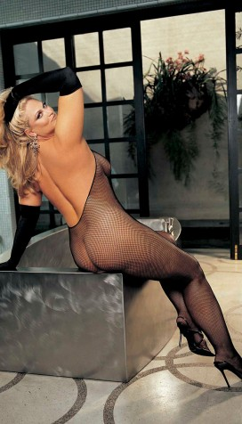 PLUS SIZE STRETCH FISHNET HALTER, LACE TOP, BODYSTOCKING, OPEN FRONT