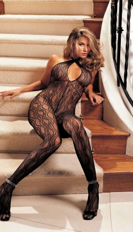 SWIRL LACE, HALTER BODYSTOCKING, OPEN FRONT