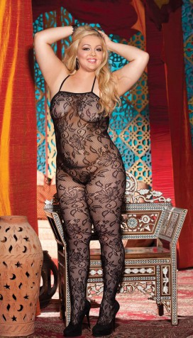 HALTER STRETCH LACE OPEN BOTTOM BODY SUIT