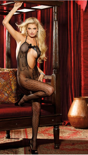 OPEN FRONT ALL OVER LACE BODYSTOCKING