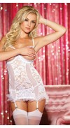 STRETCH LACE AND MESH OPEN BUST GARTERED CHEMISE