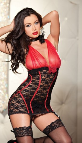 ALL OVER STRETCH LACE AND DENIER CHEMISE