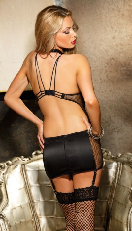 BE DARING AND REAP THE REWARDS IN OUR HEAVY SATIN AND FISHNET GARTERED CHEMISE