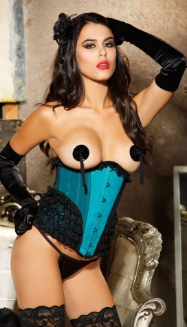 CAN YOU BURLESQUE? YOU'LL BE A NATURAL IN OUR NET OVERLAY SATIN AND RUFFLED LACE CORSET STYLE WAIST CINCHER AND PASTIES SET